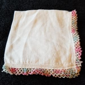 Linen Hanky Hand Tatted Pink Blue Edging Vtg
